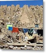 Iran Kandovan Stone Village Laundry Metal Print