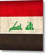 Iraq Flag Vintage Distressed Finish Metal Print