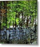 Ireland Stone Wall And Trees Metal Print