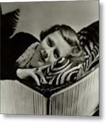 Irene Dunne Lying Down On A Zebra Print Pillow Metal Print