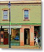 Irenes's Pub And Ernesto's Barber Shop Bank St Shops In The Glebe Paintings Of Ottawa Cspandau  Metal Print