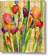 Iris Elegance On Yellow Metal Print