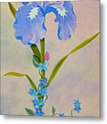 Iris With Forget Me Nots Metal Print