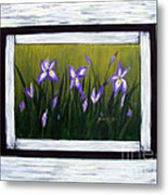 Irises And Old Boards - Weathered Wood Metal Print