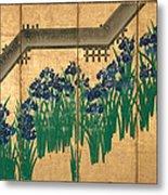 Irises At Yatsuhashi. Eight Bridges Metal Print
