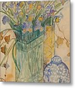 Irises With Chinese Pot Metal Print