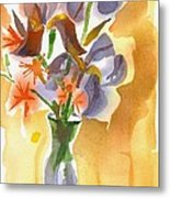 Irises With Stars Of Bethlehem Metal Print