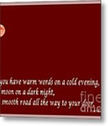 Irish Blessing - Full Moon - Greeting  - Red Metal Print