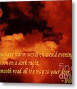 Irish Blessing On Orange Clouds And Full Moon Metal Print