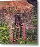 Irish Cottage Of Long Ago Metal Print