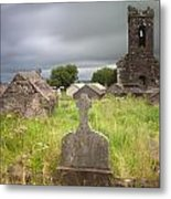 Irish Graveyard Cemetary Dark Clouds Metal Print