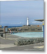 Irish Sea Lighthouse On Pier Metal Print