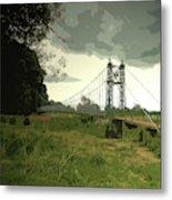 Iron Footbridge Near Doveridge, Elegant Suspension Bridge Metal Print