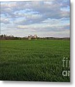 Great Friends Iron Horse Wheat Field And Silos Metal Print