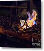 Iron In Fire Oiltreatment Metal Print