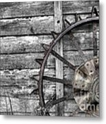 Iron Tractor Wheel Metal Print