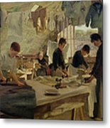 Ironing Workshop In Trouville Metal Print by Louis Joseph Anthonissen