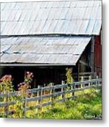 Ironweed Fenceline Metal Print