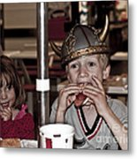 Is She Adoring Her Viking Or Coveting His Lunch Metal Print
