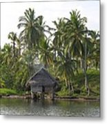 Isla Tigre - Hut Over Water And Palm Trees Metal Print