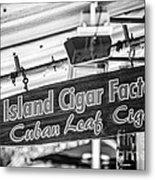 Island Cigar Factory Key West - Black And White Metal Print