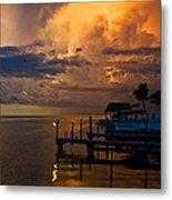 Tropical Island Storm Over Florida Keys Docks Metal Print