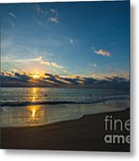 Coastal Beach Sunrise Metal Print