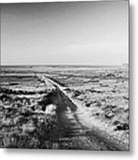 isolated single track road over peat bog heading down to the sea Gweedore county Donegal Republic of Ireland Metal Print