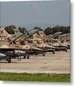 Israeli Air Force F-16`s Of Three Metal Print