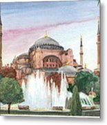 Istanbul Mosque Watercolor Painting Metal Print