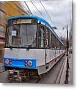 Istanbul Tram In Motion Metal Print