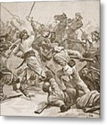 It Was Bayonet To Bayonet, Illustration Metal Print