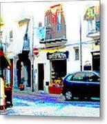 Italian City Street Scene Digital Art Metal Print