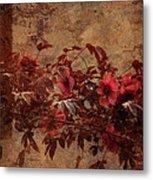 Italian Impasto Style Coral Floral Branch Metal Print