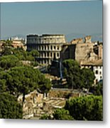 Italian Landscape With The Colosseum Rome Italy  Metal Print