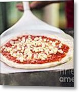Italian Pizza Ready For The Oven Metal Print