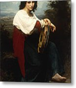 Italian Woman With A Tambourine Metal Print by William Adolphe Bouguereau