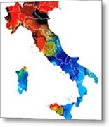 Italy - Italian Map By Sharon Cummings Metal Print by Sharon Cummings