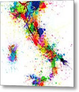 Italy Map Paint Splashes Metal Print