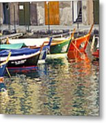 Italy Portofino Colorful Boats Of Portofino Metal Print