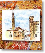Italy Sketches Florence Towers Metal Print