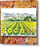 Italy Sketches Sunflowers Of Tuscany Metal Print