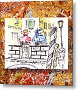 Italy Sketches Venice Two Gondoliers Metal Print