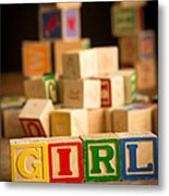 Its A Girl - Alphabet Blocks Metal Print