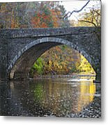 It's Autumn At The Valley Green Bridge Metal Print