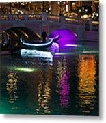 It's Not Venice - Brilliant Lights Glamorous Gondolas And The Magic Of Las Vegas At Night Metal Print
