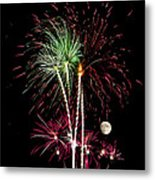 Its Raining Red Drops On The Red Flowers - Fireworks And Moon Metal Print