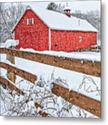 It's Snowing Square Metal Print
