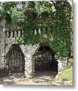Ivy Covered Stone Wall Metal Print