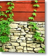 Ivy On Stone And Wood Metal Print